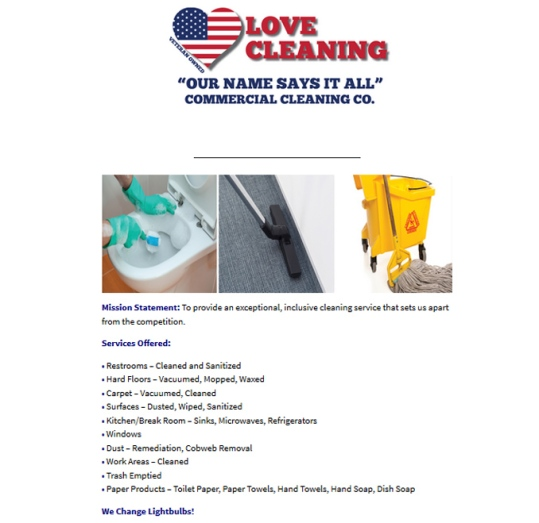 Love Cleaning Co Website